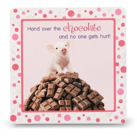 """Pavilion - """"Hand over the chocolate and no one gets hurt!"""" Pig Pink Polka Dot Square Standing Plaque 3.5x3.5 inches"""