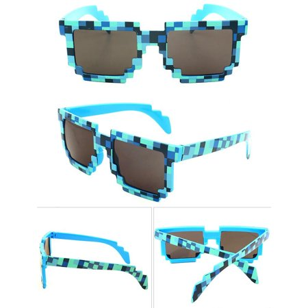 8-Bit Pixelated Blue Sunglasses Geek Gamer Square Retro Nerd 90's Adult - Pixelated Sunglasses