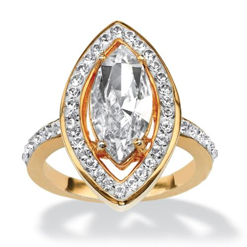 PalmBeach Marquise-Cut Crystal Ring Made with SWAROVSKI ELEMENTS in Yellow Gold Tone Color Fun Size 8