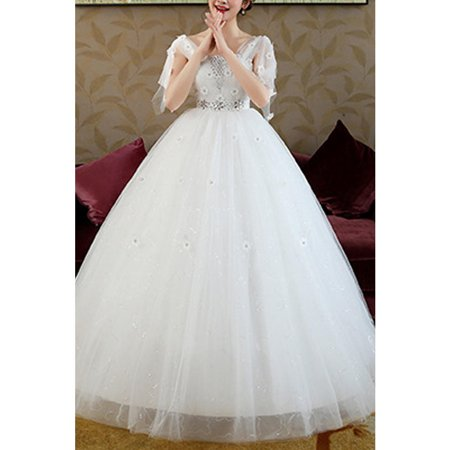 Women Beads Decorated High Waist Wedding Dress