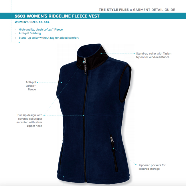 Charles River Apparel Womens Ridgeline Fleece Vest