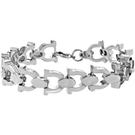 Online Reinforcements Silver Tone Stainless Steel Men S Horseshoe Shape Bracelet