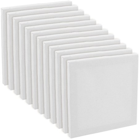 "12 Pack of U.S. Art Supply 5"" x 5"" Acrylic Primed Cotton Duck Stretched Canvas"