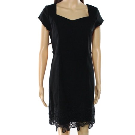 BCX NEW Black Size 11 Junior Lace-Trim Embroidered-Hem Sheath Dress