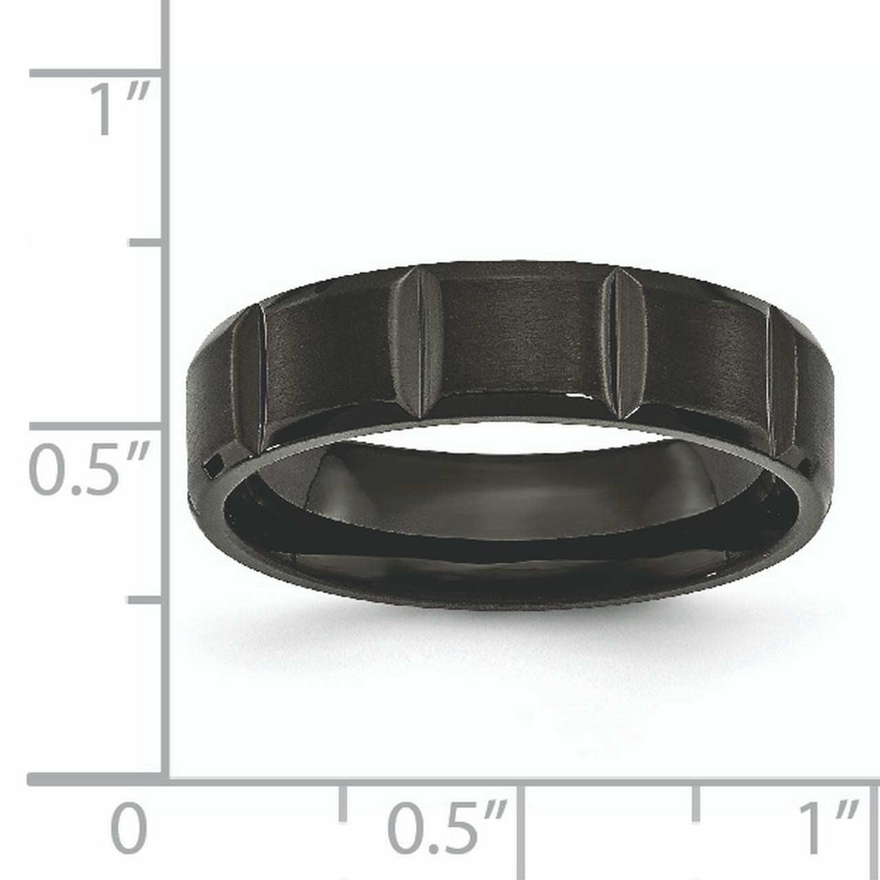 Titanium Grooved Black IP-plated 6mm Brushed and Polished Band