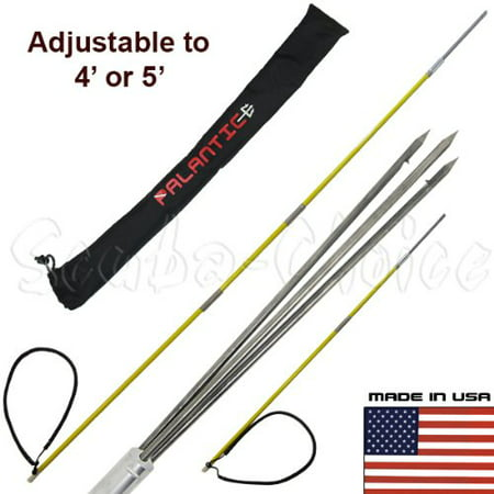 6' Travel Spearfishing 3Piece Pole Spear 3 Prong Paralyzer Adjustable to 4' & 5'