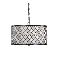 Pendants 3 Light With Black Finish Metal Fabric Glass Material 20 inch 300 Watts