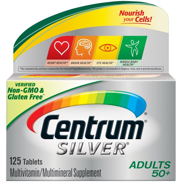 Centrum Silver Multivitamin For Adults 50 Plus Multivitamin Multimineral Supplement With Vitamin D3 B Vitamins Calcium And Antioxidants 125 Count Walmart Com Walmart Com