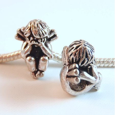 - 3 Beads - Angel Hiding Eyes Silver European Bead Charm E0927