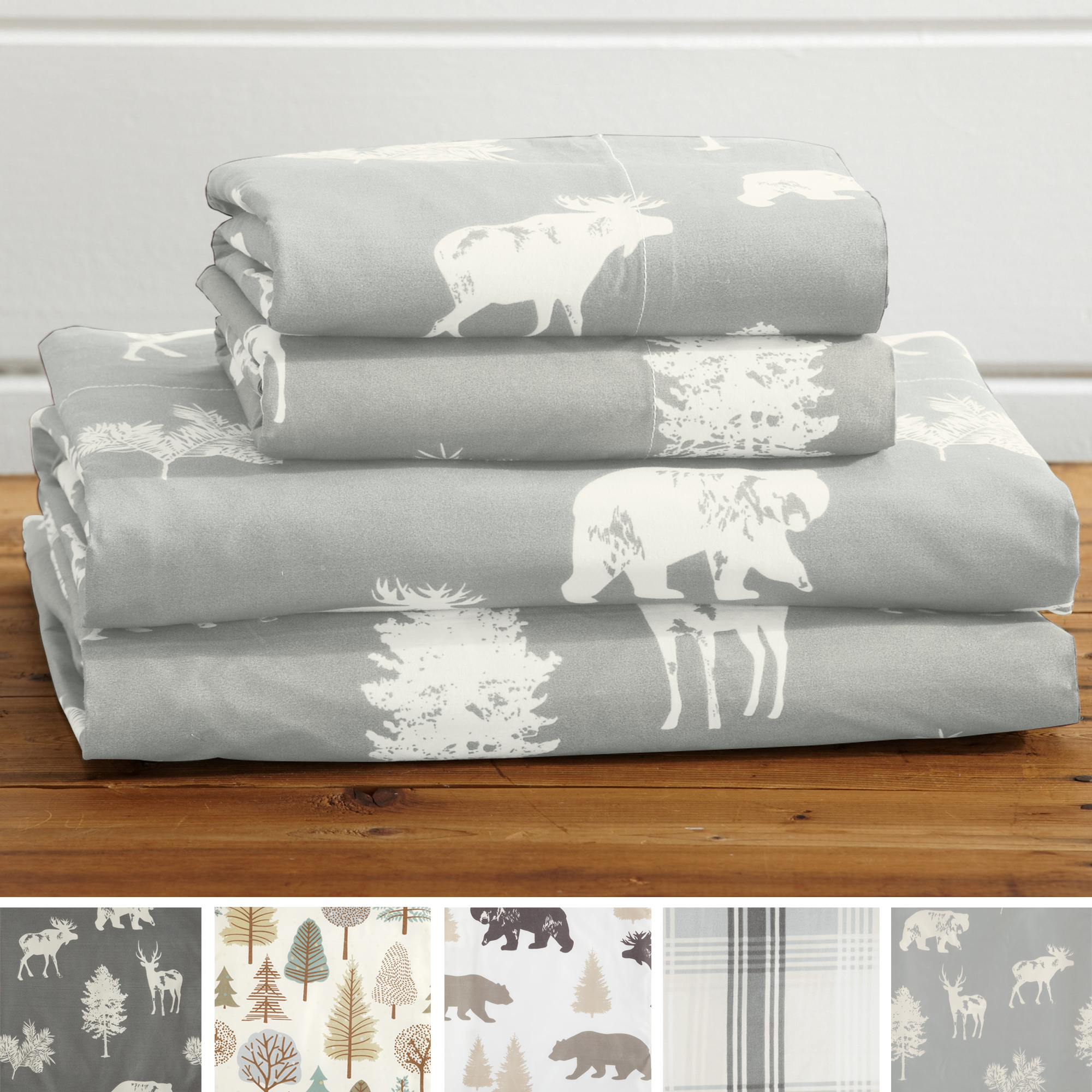 4-Piece Lodge Printed Microfiber Sheet Set By Great Bay Home