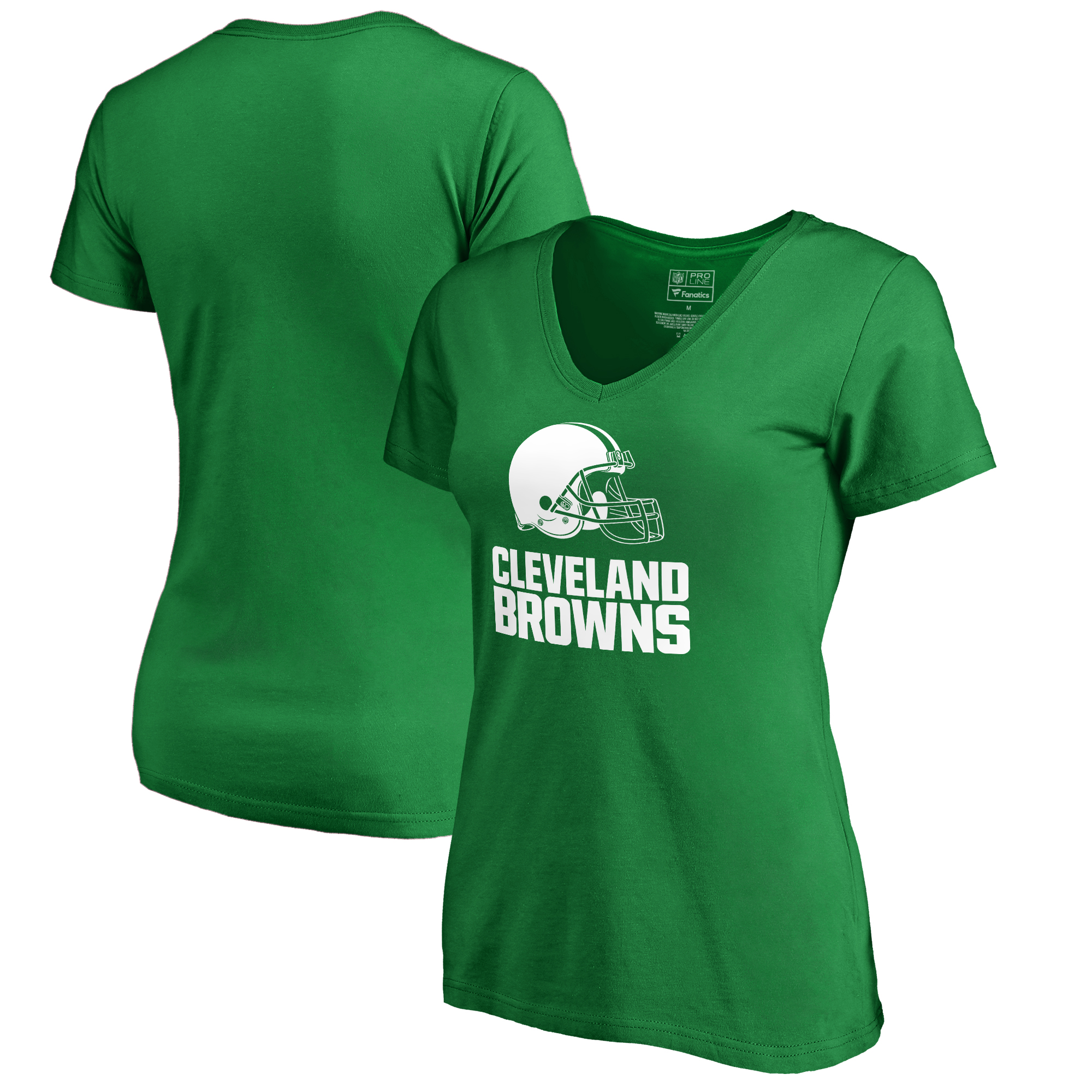Cleveland Browns NFL Pro Line by Fanatics Branded Women's St. Patrick's Day White Logo T-Shirt - Kelly Green