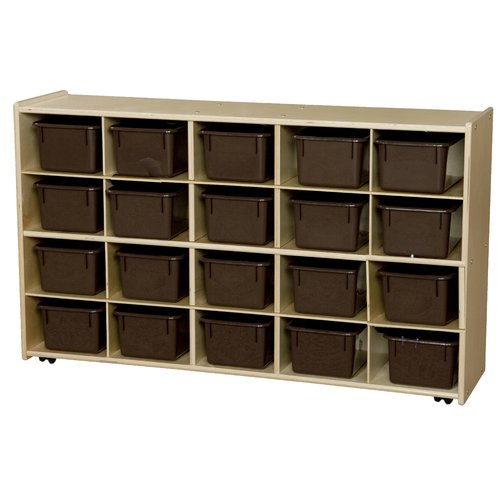 Wood Designs Contender Mobile Storage 20 Compartment Cubby with Trays