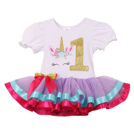 Baby Girls Cute Short Sleeve Unicorn Number Birthday Party Girl Tutu Dresses Lilac 1 YR (Lilac Tutu)