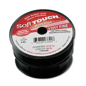 Soft Flex, Soft Touch 7 Strand Very Fine Beading Wire .010 Inch Thick, 30 Feet, Black