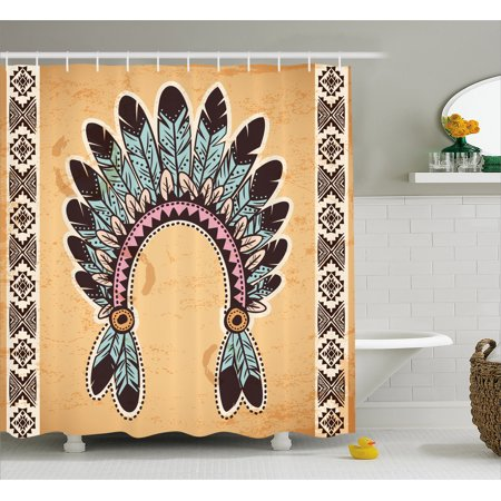 Native Americans Feathers - Tribal Shower Curtain, Native American Feather Headband on Vintage Background Folk Aztec Illustration, Fabric Bathroom Set with Hooks, 69W X 70L Inches, Light Brown Mint, by Ambesonne
