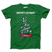 crazy dog t-shirts mens meowy christmas cat tree ugly christmas sweater t shirt green (green) xxl