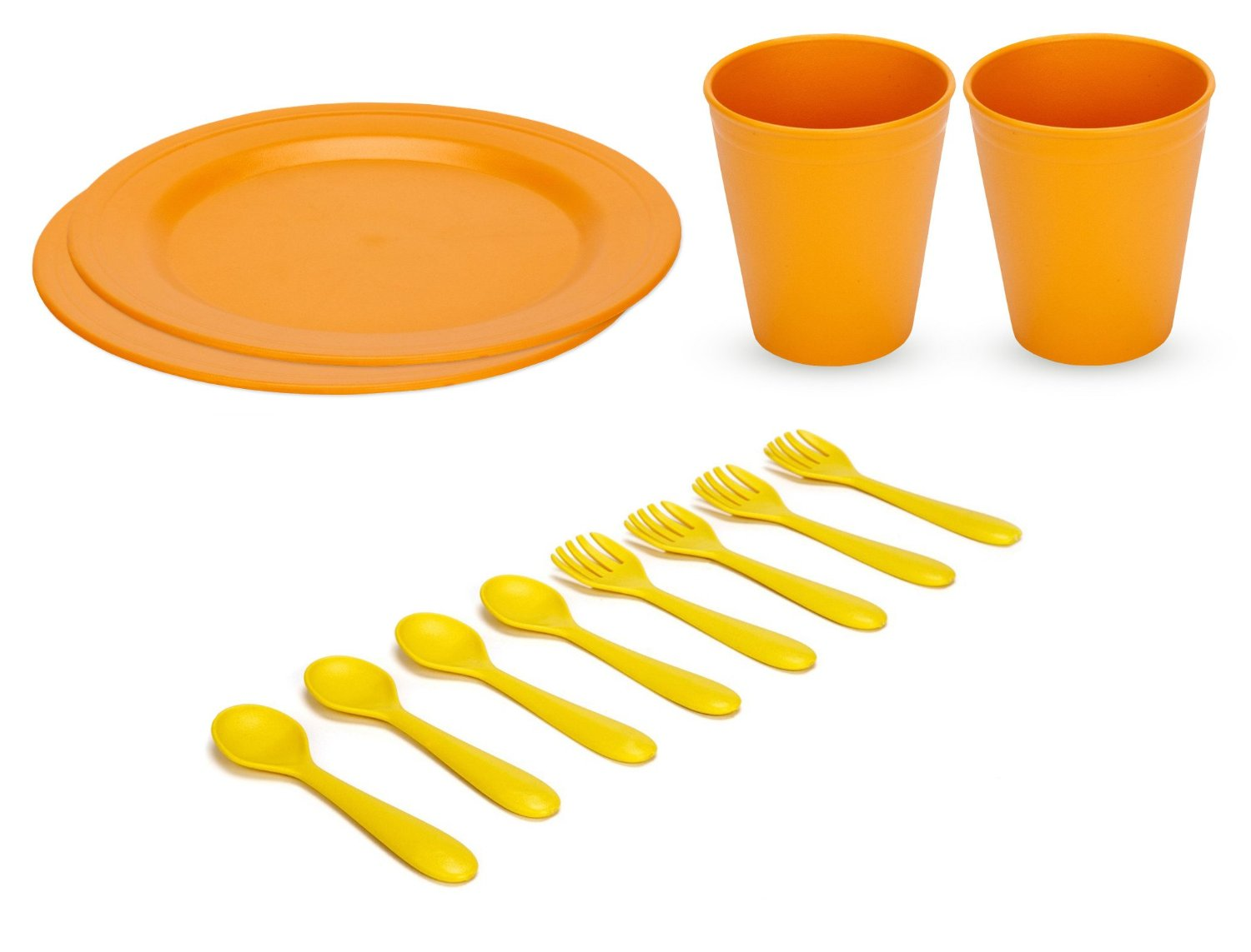 Green Eats Large Plates with Tumblers & Feeding Spoons & Forks, Orange by Green Eats
