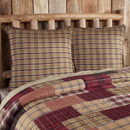 Khaki Tan Rustic & Lodge Bedding Laramie Cotton Plaid Euro Sham - Euro Plaid Pad