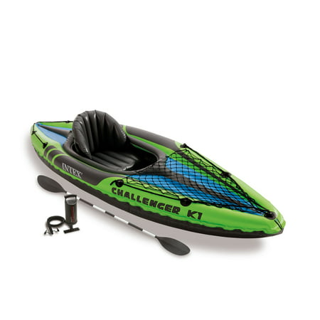 Intex Challenger K1 1-Person Inflatable Sporty Kayak + Oars And Pump |