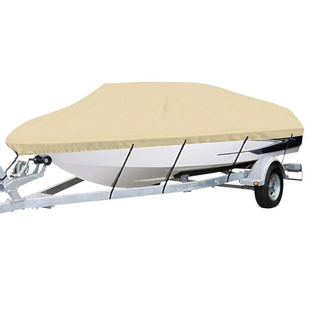 Random Color Waterproof Marine Grade Canvas 600D Polyester Boat Cover for V-Hull Tri-Hull Fishing Ski Pro-Style Bass Boats, M, EHD ()