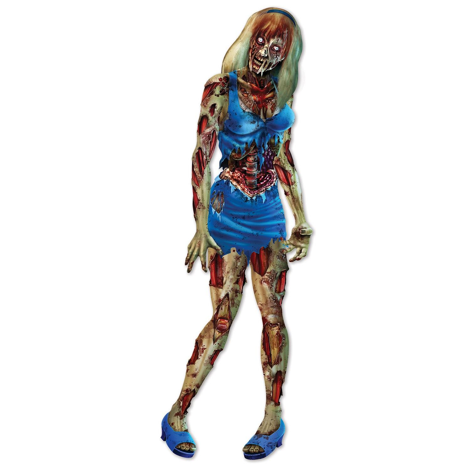 """Club Pack of 12 Scary Halloween Jointed Posable Zombie Girl Figure with Blue Outfit 6"""""""