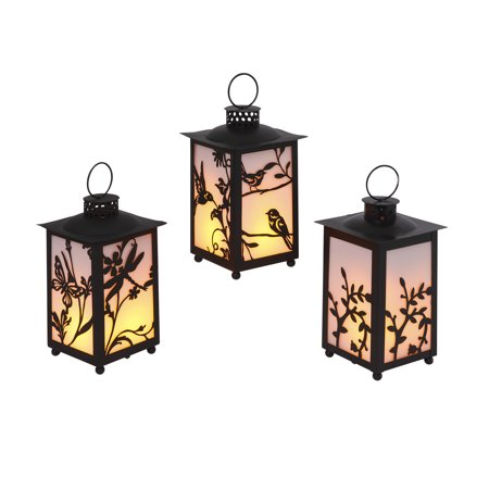 Gerson Assorted 8.5-Inch Tall Battery Operated Black Plastic FireGlow™ Lanterns with Timer Feature (Set of 3) - Battery Operated Lanterns