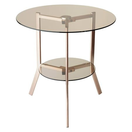 Gibson End Table Brushed Copper Legs and 2 Tinted Glass Table Tops for Storage ()
