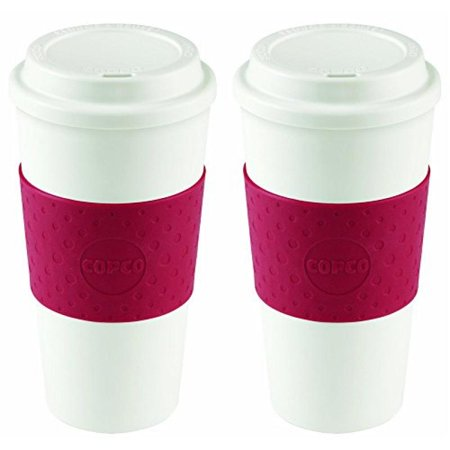 Copco 2510-9990 Acadia Travel Mug, 16-Ounce, Cherry Red (2 (Intl Travel Pack)