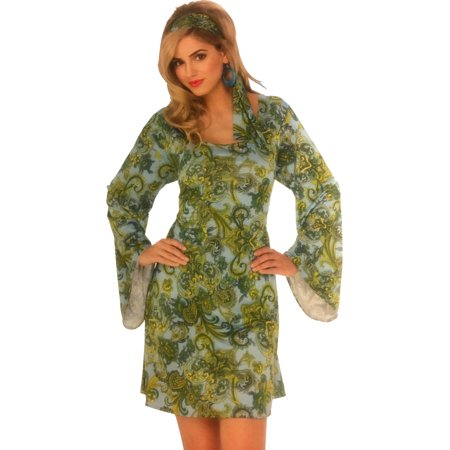 Women's 70s Disco Dancing Queen Boogie Down Floral Dress Costume