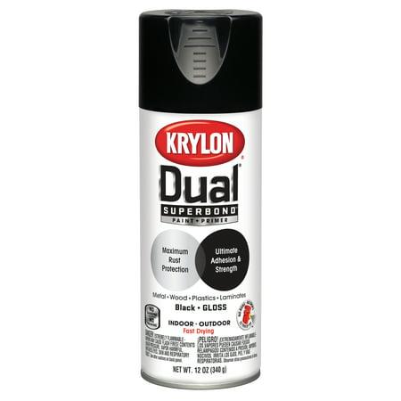 Dual Aerated Spray (Krylon® Dual Superbond Paint + Primer Gloss Black Spray Paint, 12-Oz )