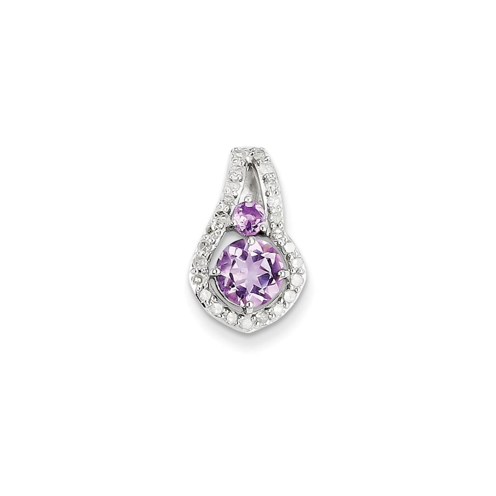 Sterling Silver Diamond & Pink Amethyst Pendant