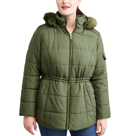 Weather Tamer Women'S Plus-Size Quilted Puffer Jacket W/ Faux Fur-Trim Hood](lipsy faux fur puffer jacket)
