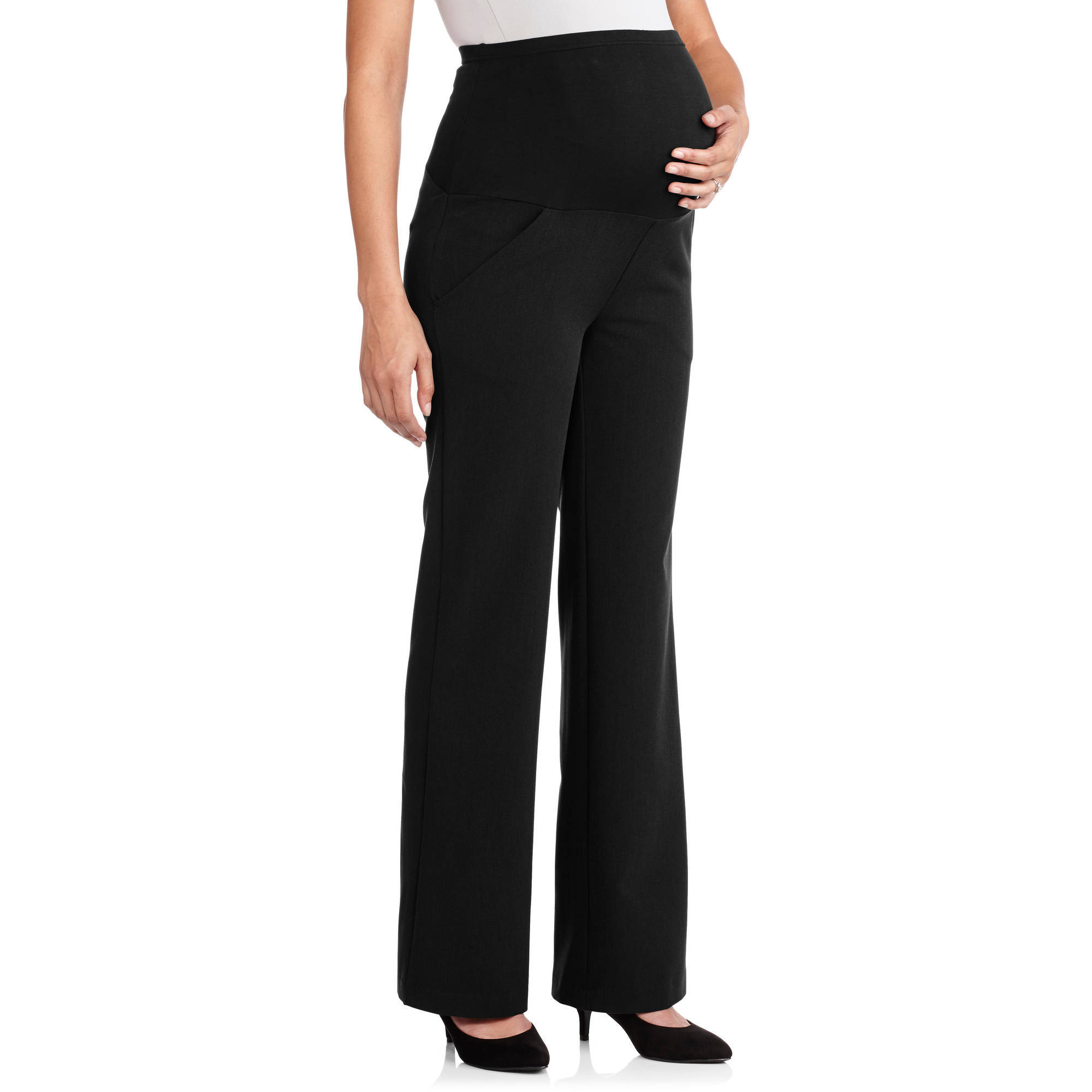 Oh! Mamma Full-Panel Wide Leg Career Maternity Pants - Walmart.com