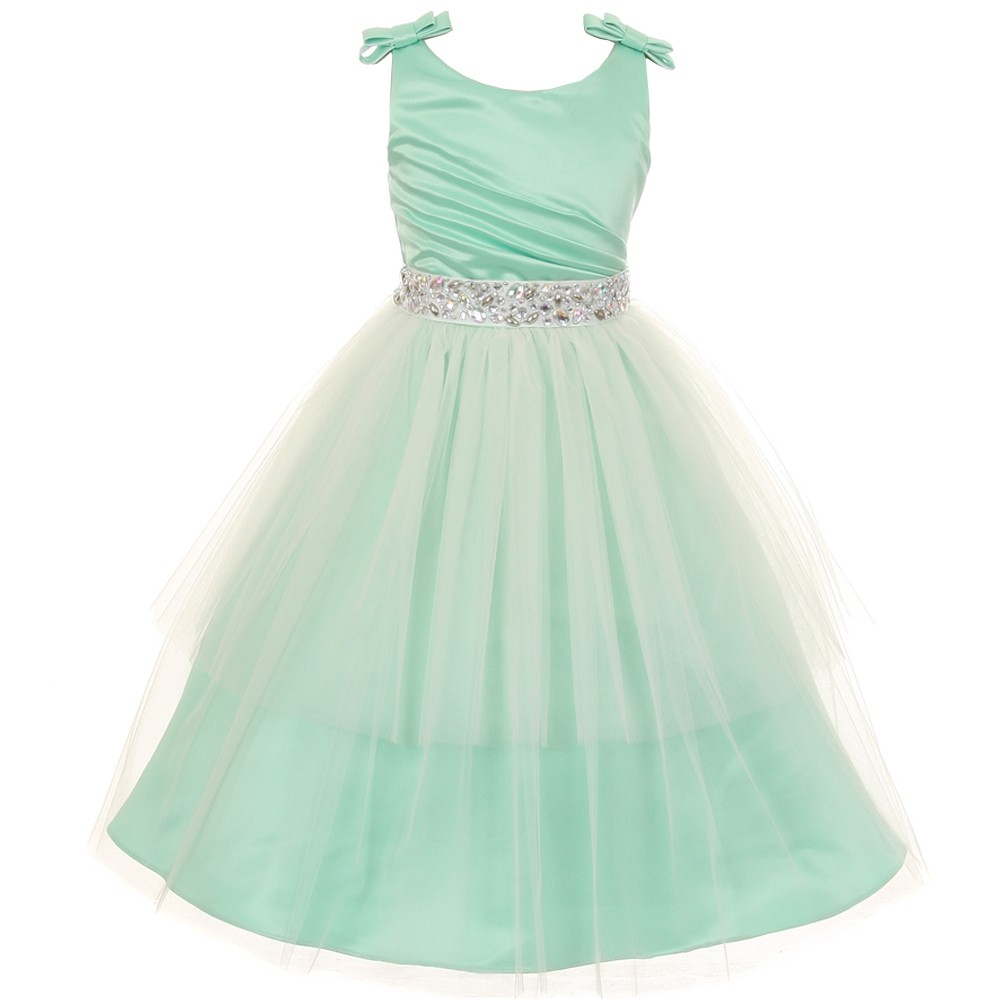 Girls Mint Double Bow Shoulder Jewel Sash Special Occasion Dress 8 ...