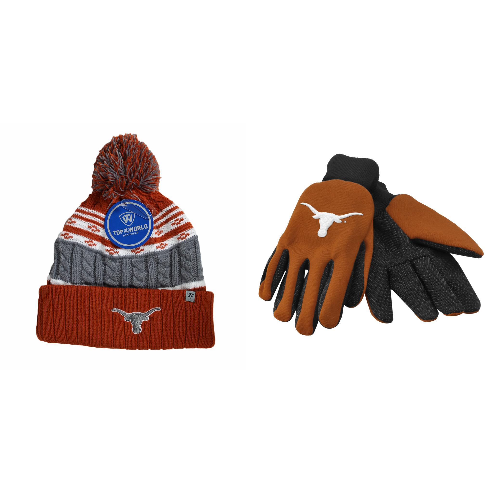 NCAA Texas Longhorns Grip Work Glove And Altitude Beanie Hat 2 Pack Bundle