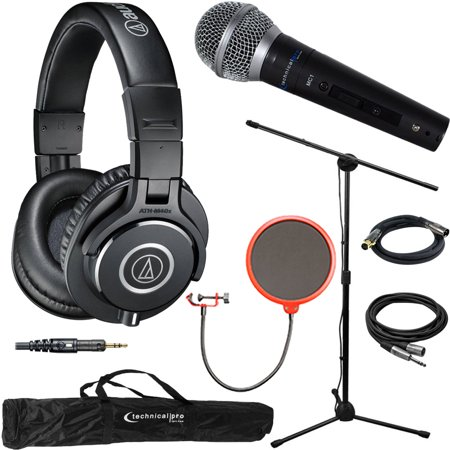 Audio-Technica ATH-M40x Professional Studio Monitor Wired Headphone – Black & Technical Pro Microphone Bundle includes Headphones, Microphone, Stand, Holder, XLR Cables, Case and Wind Screen