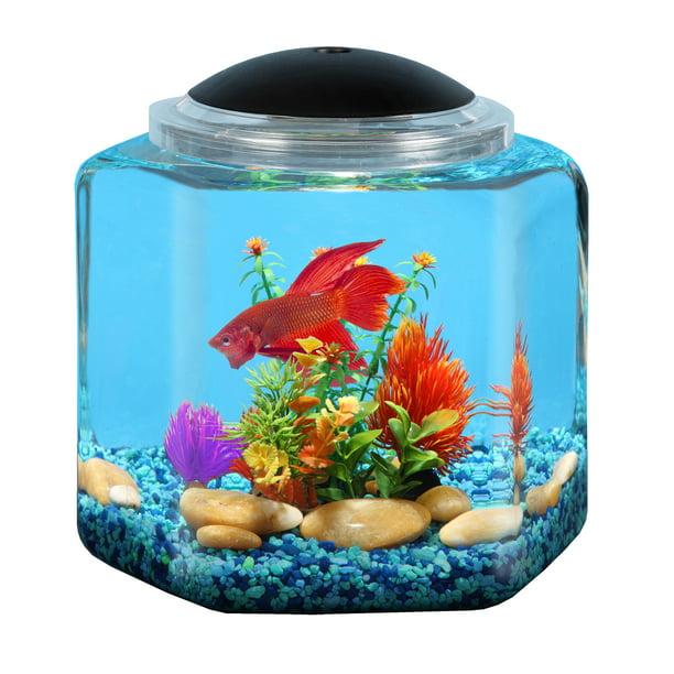 Hawkeye 2 Gallon Betta Hex Fish Tank With Led Lighting Walmart Com Walmart Com