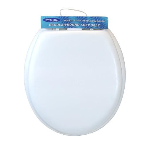 Aquaplumb Ctssw Round Soft Toilet Seat With Cover Lid White Walmart Com Walmart Com