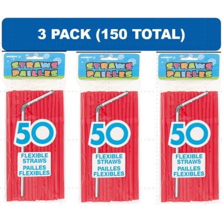 (3 Pack) Plastic Flexible Straws, 8 in, Red, 50ct