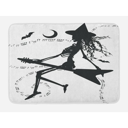 Music Bath Mat, Witch Flying on Electric Guitar Notes Bat Magical Halloween Artistic Illustration, Non-Slip Plush Mat Bathroom Kitchen Laundry Room Decor, 29.5 X 17.5 Inches, Black White, - Halloween Bathroom Decor