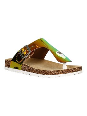 9ec400bb203 Product Image Women Holographic T-Strap Open Toe Cork Footbed Slide Sandal  18376