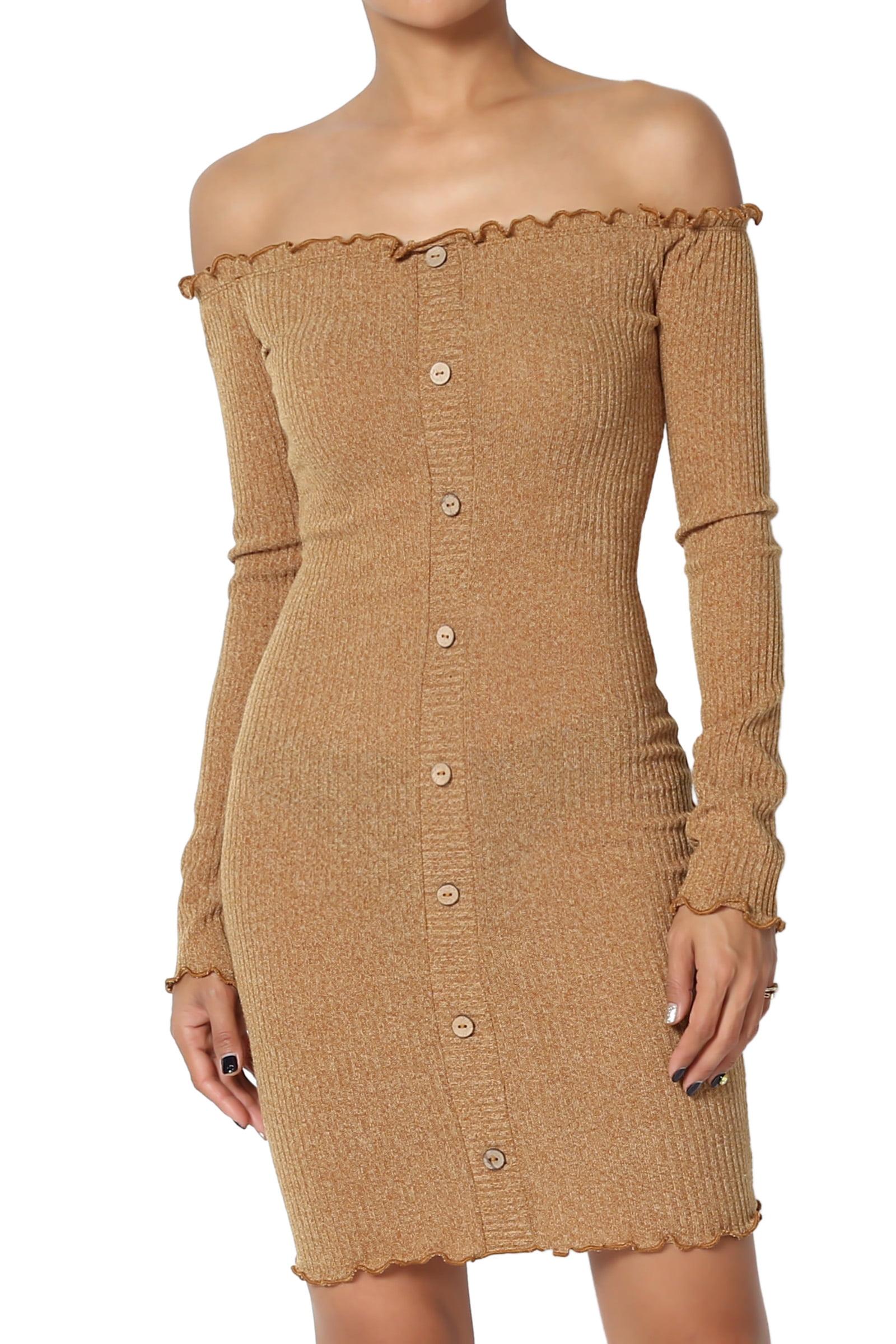 ce23b1deed7f TheMogan - TheMogan Junior s Long Sleeve Off Shoulder Stretch Ribbed Knit  Bodycon Mini Dress - Walmart.com