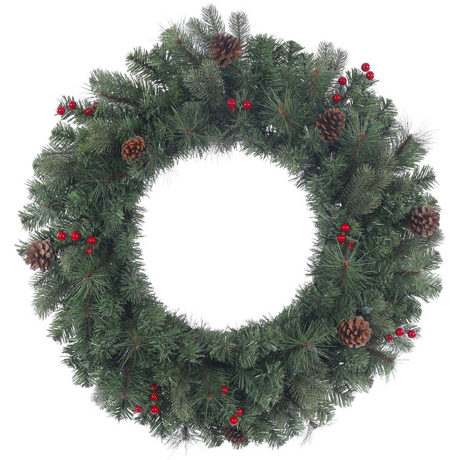 "Vickerman 24"" Wesley Mixed Pine Artificial Christmas Wreath, Unlit"