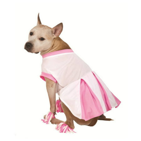 Rubies Dog Cheerleader Costume Pink Cheer Leader Pet Outfit Pom Pom - Leader Costumes