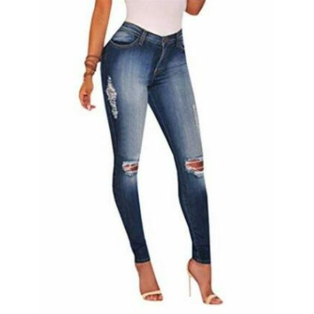 Light Blue Washed Denim Pants Women Skinny Jeans