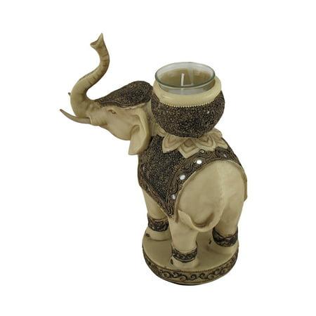 Antiqued Finish Elephant Tealight / Votive Candle Holder - image 1 of 4