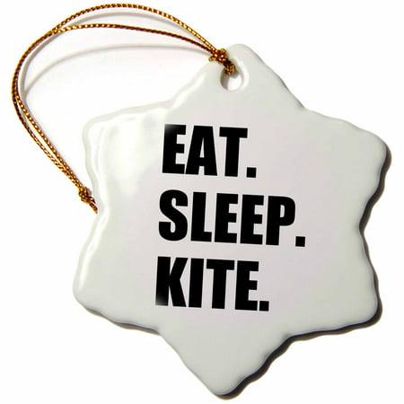 3dRose Eat Sleep Kite - Kitesurfing kiteboarding kitesurfer kiteboarder surf, Snowflake Ornament, Porcelain, 3-inch