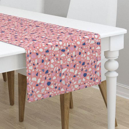 Table Runner Abstract Terrazzo Mosaic Pink Pebbles Modern Granite Cotton Sateen ()