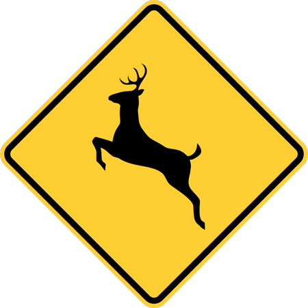 Traffic Signs - Deer crossing Heavy Duty 12 x 18 Peel-n-Stick Sign Street Weather Approved Sign