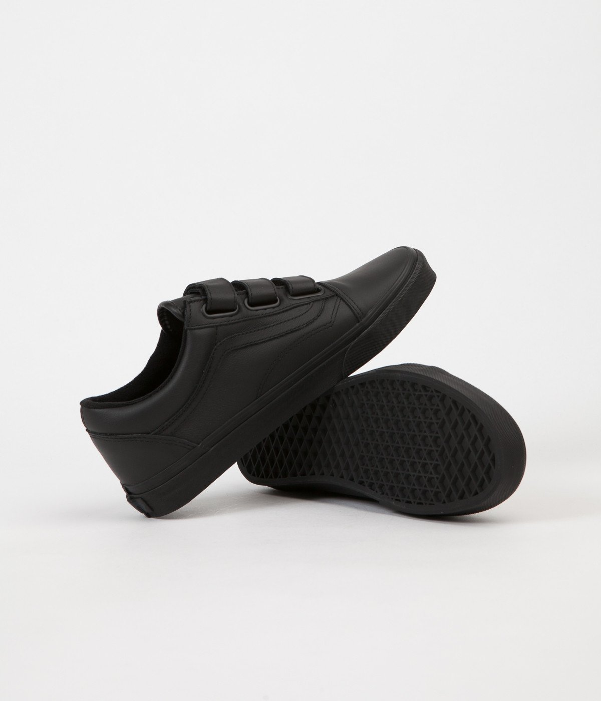 Vans - Vans Old Skool V Mono Leather Black Ankle-High Skateboarding Shoe -  8.5M   7M - Walmart.com 931a97f1e4b6